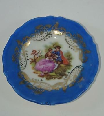 Small Pin Dish - Limoges France  - Gout De Ville  53mm  Blue Courting scene