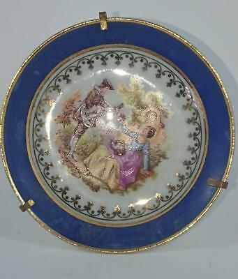 Small Pin Dish - Limoges France  - Monarch  86mm  Blue Courting scene
