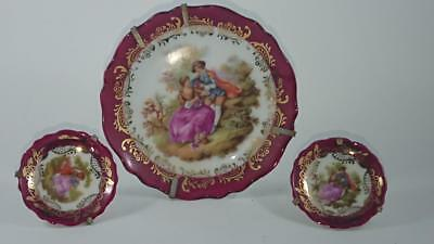 Small Pin Dish Trio - Limoges France  - La Seynie & Gout de Ville Courting scene