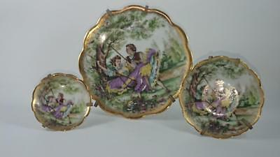 Small Pin Dish Trio - Limoges France  - Monarch-  Courting scene 3 pieces