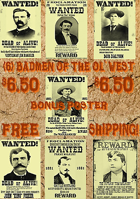 6 Old West Wanted Poster Outlaw Tombstone Ok Corral Doc Wyatt Ringo Clanton Ike