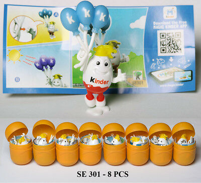 Set of 8 pcs New SE301 KINDERINO PARTY 50 YEARS Kinder Surprise 2018 + 8 BPZ