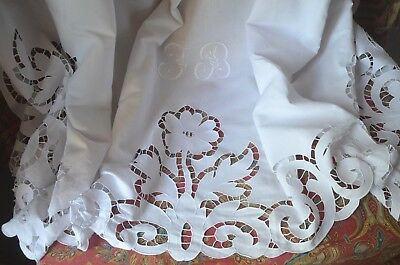 Antique French pure linen fil cut work dowry sheet, extra wide, JB monogram