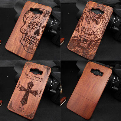 For Samsung Galaxy A3/A5/A7 2015 Natural Real Wood Carved Pattern Back Case