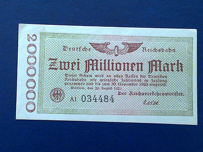 Germany - 2 Million Mark Rail Banknote 1923-Inflation - Almost Uncirculated