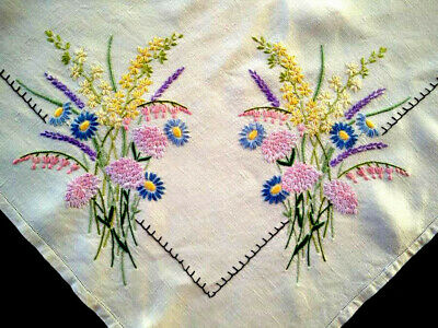 'Fairistytch'? ~ Double Wild Flower Crns Vintage Hand Embroidered Lge Tablecloth