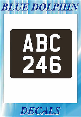 CLASSIC MOTORCYCLE REAR NUMBERPLATE REG self adhesive numerals & letters White