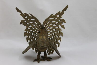 Vintage Brass Turkey Wild Sculpture Figure Figurine Statue Bird Metal Decor Art