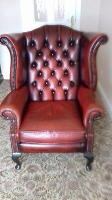 Chesterfield Queen Anne High Back Wingback Oxblood Chair Antique Vintage