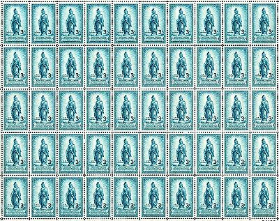 1950 - STATUE OF FREEDOM- Vintage Full Mint Sheet of 50 U.S. Postage Stamps