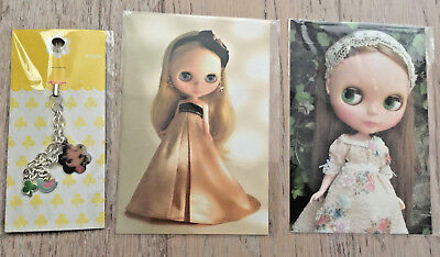 Lot of Junie Moon Kenner Takara Blythe post cards & cell phone strap, new in pkg