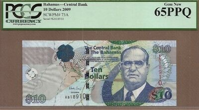 BAHAMAS: 10 Dollars Banknote,(UNC PCGS65),P-73A, 2009,No Reserve!