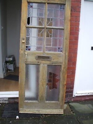 LARGE ANTIQUE VICTORIAN/EDWARDIAN FRONT DOOR WOODEN With Furniture & Locks