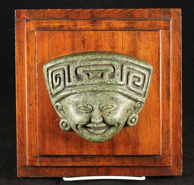 Mexican Jadeite Mask/Face Wall Hanging Hand Carved Wood Base Vera Cruz Mexico