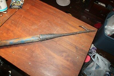 "Vintage Antique WHALE HARPOON Hand Forged Lance Spear Head 15"" Iron 30"" Overall"