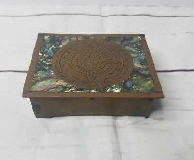 Taxco Vintage Brass Wood. Mother of pearl & Aztec Calendar trinket Box. Rare.