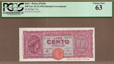 ITALY: 100 Lire Banknote,(UNC PCGS63),P-75a, 10.12.1944,No Reserve!
