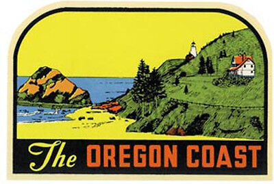 """The Oregon Coast""    Vintage-1950's Style Travel Decal"