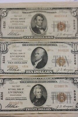 Liverpool PA National Banknote Lot $5, $10, $20 (3 notes)