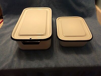 2 OLD Vtg Enamel Film Developing Trays w/ Lids / Covers