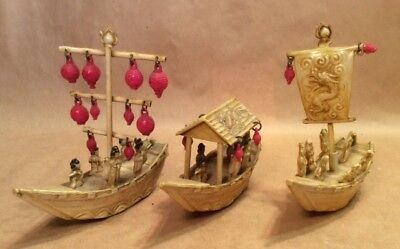 Vintage Celluloid Miniaure Japanese Made Ancient Ships  (x3)