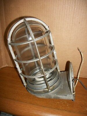 Vintage INDUSTRIAL STEAMPUNK Light Fixture with Cage, Blast Explosion Proof
