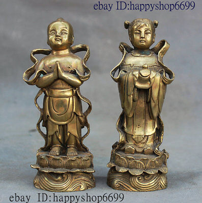 Collect Old China Chinese Brass Pure Youth And Maiden Tongzi Boy kid Statue Pair