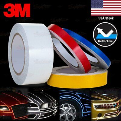 "3/8"" 9/16"" 1"" 2"" REFLECTIVE Self Adhesive PinStripe Vinyl 3M Decal Tape Stickers"