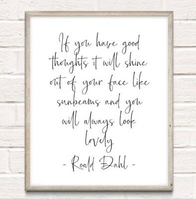 Roald Dahl Sunbeams Typography Print Poster Unframed Quote Home Family The Twits
