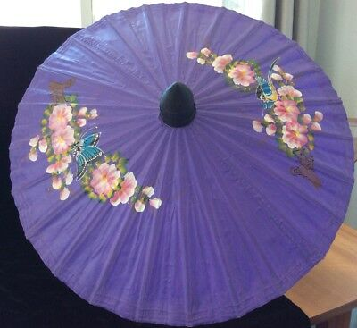 Vintage Canvas And Bamboo Parasol, Purple, Hand Painted Cherry Blossom Design