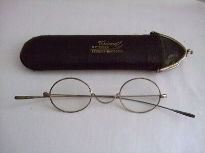 French vintage c1920s wire framed glasses + case gothic steampunk theatre bezier