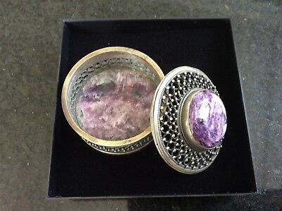 Violet Charoite trinket box. Only found in Siberia.