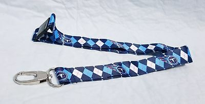 85cd53a1e01 NFL Tennessee Titans Argyle Lanyard Clip Keychain Badge Ticket Holder