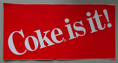 "Large Coca Cola ""Coke Is It"" Decal  24"" x 12""  1980s Logo New"