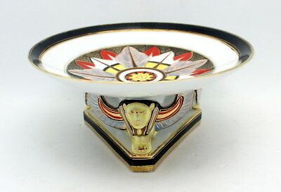 Vintage Hand Painted Nippon Egyptian Revival Porcelain Pedestal Plate Or Dish