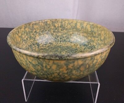 VTG Large Blue Spongeware Bowl Pottery Splatterware Mixing Primitive Retro Stone