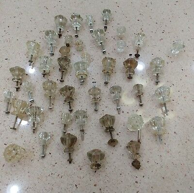 40 Vintage Glass Furniture Knobs  Different Shapes and Sizes