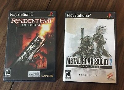 PS2 PlayStation 2 Games Resident Evil Outbreak & Metal Gear Solid 2