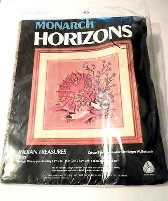 "Monarch Horizons Indian Treasures Crewel Stitchery Kit 14"" x 14"" Pure Wool"