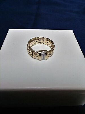 QVC 14K Yellow Gold with Diamond accents Byzantine Band Ring Size 8