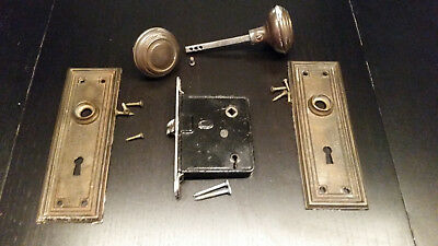 Antique Victorian Brass Door Knobs with plates
