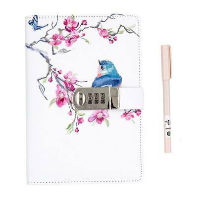 Cute Girls Secrect Diary with Lock and Pen, A5 Leather Journal Lockable Notepads