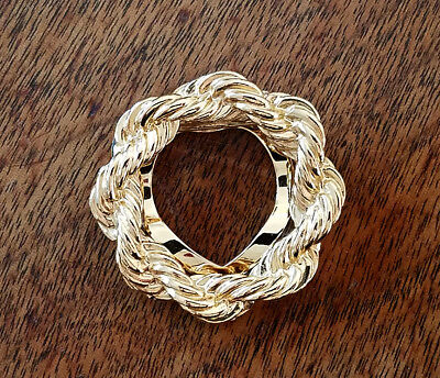 VINTAGE, Lovely, Gold Plated Rope Twist Scarf Ring / Clip / Pin