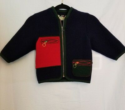 Child's Vintage Drig Galzburger Wool Cardigan Blue Embroidered Zippers