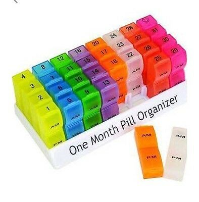 Colourful One Month pill tablet organiser With 32 Clip Lid Am/pm Box's