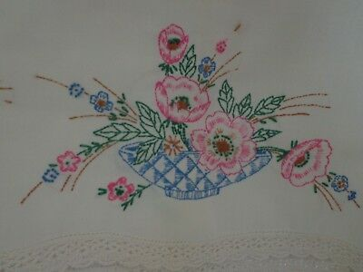 Vintage/Antique Embroidered Pillowcase, Pink & Blue Flowers in Basket