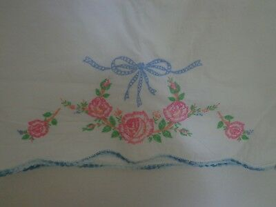 Vintage/Antique Hand Embroidered Pillowcase, Pink Roses Blue Trim