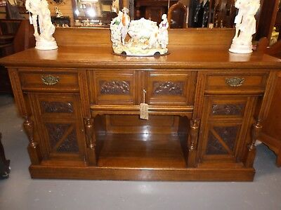 A Large Superb Quality Victorian Arts & Crafts Solid Oak Carved Sideboard C1900