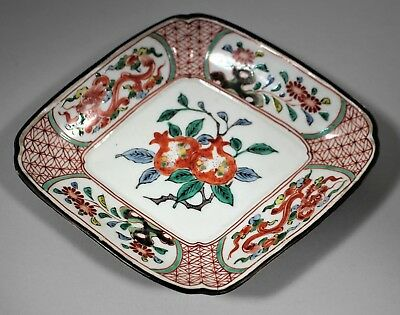 Antique Chinese Qing small dish plate pomegranate dragon floral Japanese design