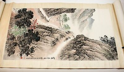 """Chinese coloured scroll """"Mountain Path"""" Songyan Qian and Zixi Wei ink on paper"""